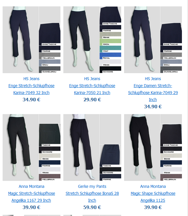 Stretch-Schlupfhosen im Online-Shop bei Bernhardt Moden